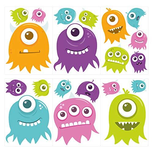 dekodino® Wandtattoo Monster kunterbunt 20 Stück Kinderzimmer Deko