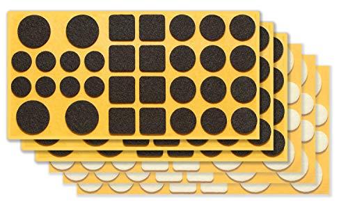 clapur Filzgleiter-Set (192 Stk.) Hochwertige Nadelfilz-Gleiter, selbstklebend, extra druckfest für Möbel, Stühle, Tische - schwarz / weiß, rund / eckig