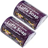 Pack 2 Puretural Luffa Soap Bar to Clean Dark Spots Body Scrub Soap for Stretch Marks Whitening with Mangosteen and Honey