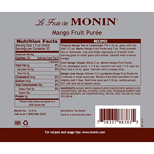 Monin - Mango Purée, Tropical and Sweet Mango Flavor, Natural Flavors, Great for Teas, Lemonades, Smoothies, and Cocktails, Vegan, Non-GMO, Gluten-Free (1 Liter)