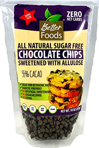 Sugar Free Mini Chocolate Chips Sweetened With Allulose (Keto, 0 Net Carbs, Great for Diabetics, No Artificial Sweeteners, No Sugar Alcohol, No Stevia, Gluten Free, Soy Free, Vegan, Non-GMO) (1 Pack)