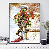 Diamomd Embroidery Cross Stitch Winter Scenery Needlework Full Fruit White Canvas DIY Home Decor-40x50cm