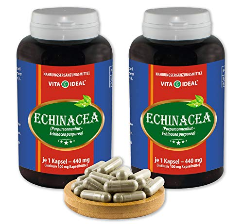 VITA IDEAL ® Echinacea-Wurzel & Echinacea-Kraut (Roter Sonnenhut, Echinacea purpurea) 2x360 Kapseln je 440mg, aus rein natürlichen Kräutern, ohne Zusatzstoffe