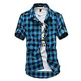 Camisa Cuadros Hombre 2019 Moda SHOBDW Playa de Verano Vintage Retro Blusa Slim Fit Tops Shirts Cuello Mao Camisetas Hombre Manga Corta Tallas Grandes 3XL(Azul 2,L)