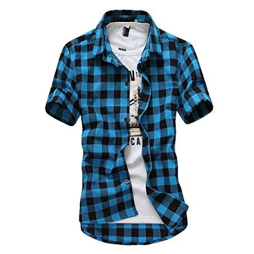 Camisa Cuadros Hombre 2019 Moda SHOBDW Playa de Verano Vintage Retro Blusa Slim Fit Tops Shirts Cuello Mao Camisetas Hombre Manga Corta Tallas Grandes 3XL(Azul 2,M)