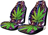 2 PCS Car Seat Covers, Trippy Marijuana Psychedelic Print Car Seat Covers Front Seats Only, Bucket Seat Covers Matching Headrest for Cars Trucks SUV or Van