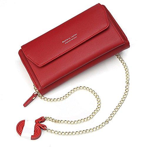 Geldbörse Damen Leder Brieftasche mit eingearbeiteter Kette, Lang Portmonee Clutch Handy Geldbeutel Reißverschluss, Multifunktion Portemonnaie Schutz Hülle für Samsung iPhone Huawei Telefon (Rot)