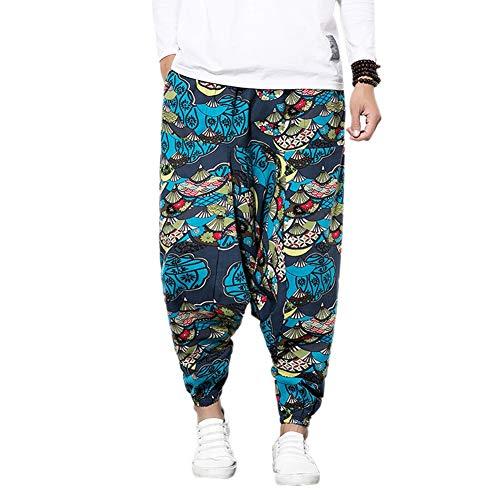 MY Household Herren Haremshose mit Gedruckten Mit Tasche Baggy Pumphose Yoga Tanz Strand -Aladin,Pluder,Yoga/Freizeithose,Blau,L