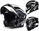 GPFFACAI Casco Integral Moto Mujer Casco abatible de Motocicleta, Casco de Scooter con Gafas Dobles antivaho, Casco de Scooter de Motocicleta de Carreras anticolisión, Casco de ciclomotor(Size:X-Larg