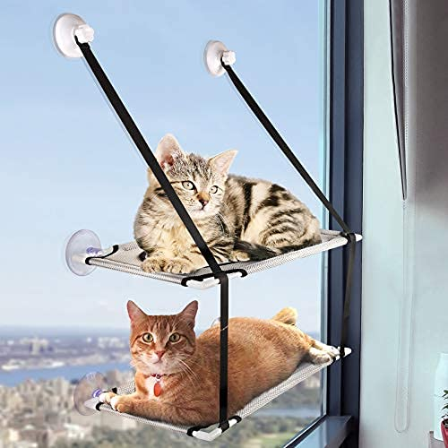 Gato Window Syrch, doble stack Cat Hammock Seat Space Ahorro fregadero gato cama con una fuerte ventosa ...