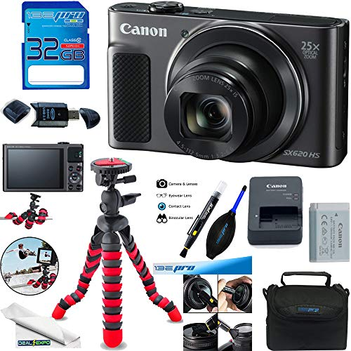 PowerShot SX620 HS Digital Camera (Black) + Deal-Expo Accessories Bundle.