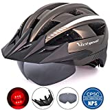 Victgoal Bike Helmet for Men Women with Led Light Detachable Magnetic Goggles Removable