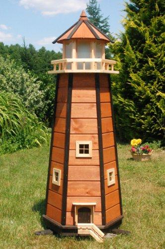 Deko-Shop-Hannusch Wunderschöner großer XXL Leuchtturm aus Holz mit LED Beleuchtung 1,40 m, braun