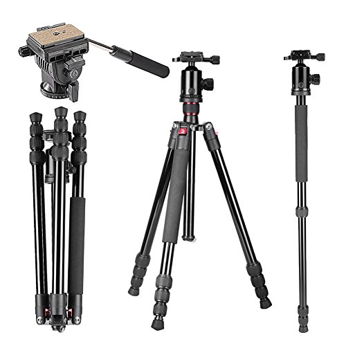 Neewer 64″/163cm Tripod Monopod with 360 Degree Ball Head,Fluid Video Head,1/4″Quick Release Plate,and Bubble Level Including Carrying Bag for DSLR Camera,Video Camcorder up to 22lbs/10kg