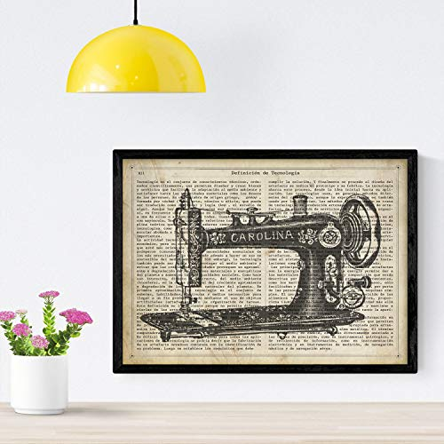 Nacnic Poster de Maquina de coser Carolina.Láminas vintage para decoración de interiores. Posters con diseño vintage y definiciones. Tamaño A4