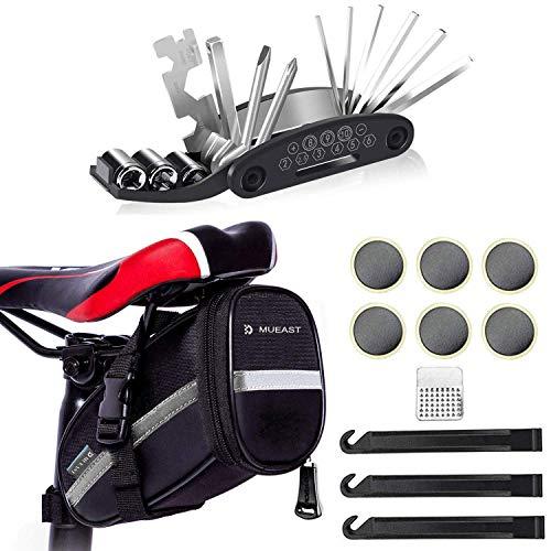 MUEAST Fahrrad-Multitool, 16 in 1 Fahrrad Reparatur Set Fahrrad Multifunktionswerkzeug Pocket Tool Multifunktions Werkzeug, geschenkt Fahhradtasche (Schwarz)
