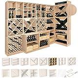 Weinregal / Flaschenregal System CAVEPRO, Regalmodul mit 9 Fächern, Holz Melamin beschichtet, Eiche hell