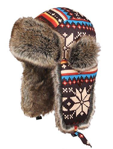 Insun Wintermütze Fliegermütze Gestrickt Pilotenmütze Uschanka Russenmütze Ohrenschützer für Erwachsene und Kinder Mehrfarbig 3 XXL Hut Umfang 60cm