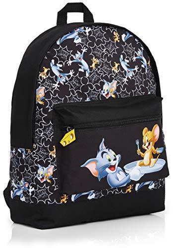 Tom and Jerry Kinderrucksack Jungen und Mädchen, Schwarz Rucksack Schule Grundschule oder Reisen, Große Kapazität Schulranzen mit Classic Cartoon Charakteren, Geschenke für Kinder