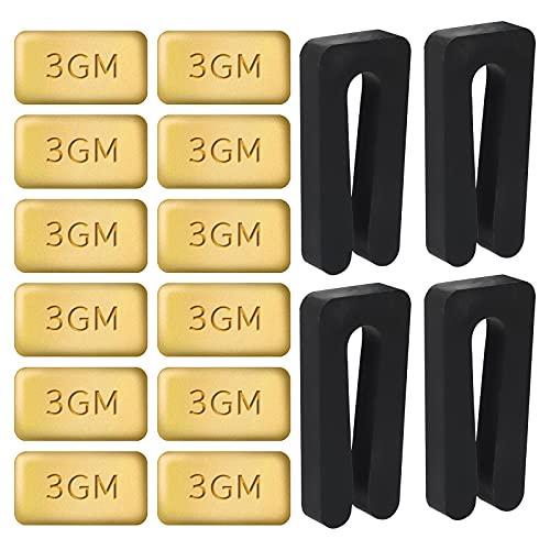 AIEX 4 Sets Techo Ventilador Aspas Equilibrio Kit Incluye 12 Piezas Metal Bloques de Oro Autoadhesivos 3G y 4 Piezas Ventilador Equilibrio Clips Negros para Equilibrar Peso del Ventilador de Techo