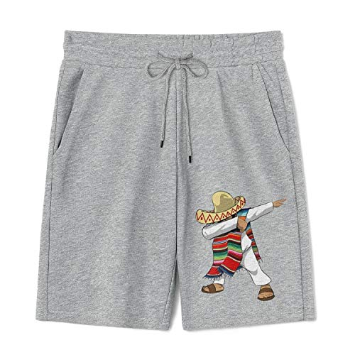 Mens Sports Shorts Mexican-Flag-Poncho-Dabbing-Cinco- Cotton Short Joggers Drawstring Short with Pocket