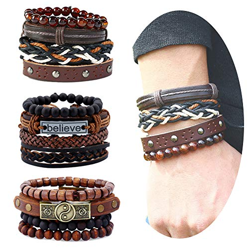 EVBEA 12PCS Mens Bracelets Braided Leather Wristband Punk Rope Bracelet Cuff Vintage Bracelets Wrap Set Adjustable Trendy Multilayer Bracelets for Boys