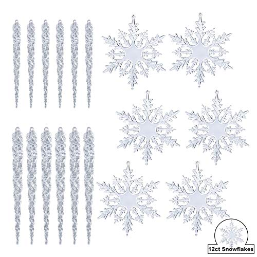 KI Store Clear Acrylic Snowflake and Icicle Ornaments Set 24pcs Assorted 4 Snowflakes 7 Icicles 5 Icicles for Christmas Tree Window Decorations Party Indoor Outdoor