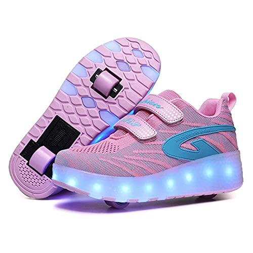 HANHJ Roller Skates Unisex Roller Shoes Kids LED Color Light USB Rechargeable Skateboard Shoes Ruedas Detachable Patines En Línea Skates Deporte Polea Shoe para Niños Niñas,Pink01-37
