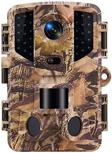 TOMSHOO Wildkamera mit Bewegungsmelder Nachtsicht 16MP 1080P, Jagdkamera Fotofalle für Outdoor-Natur, Garten, Haussicherheitsüberwachung