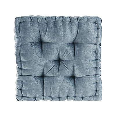 "Intelligent Design Azza Floor Pillow Square Pouf Chenille Tufted with Scalloped Edge Design Hypoallergenic Bench/Chair Cushion, 20""x20""x5"", Aqua"