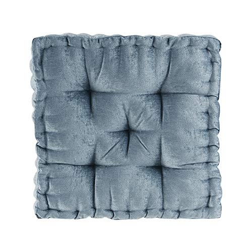 "Intelligent Design Azza Floor Pillow Square Pouf Chenille Tufted with Scalloped Edge Design Hypoallergenic Bench/Chair Cushion, 20""x20""x5"", Aqua"