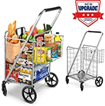 Shopping Cart, Jumbo Double Basket Grocery Cart 330 lbs Capacity Folding Shopping Cart with 360° Rolling Swivel Wheels Super Loading Utility Shopping Cart for Laundry, Shopping, Grocery, Luggage