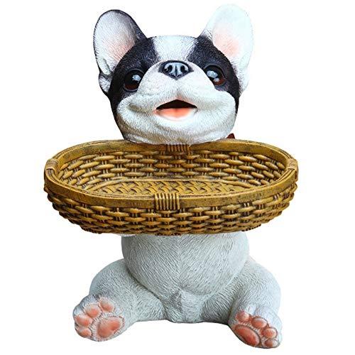 ALIKEE Pug French Bulldog Dog Statue Remote Control Storage Box Resin Shiba Inu Sculpture Home Decoration -Black+White