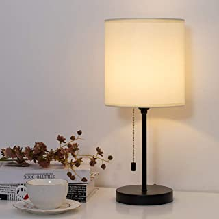 HAITRAL Modern Table Lamp - Elegant Modern Bedside Lamp with Fabric Shade and Pull Chain Switch Minimalist Nightstand Lamp for Bedrooms, Girls Room, College Dorm - Cream (HT-TH104-35)