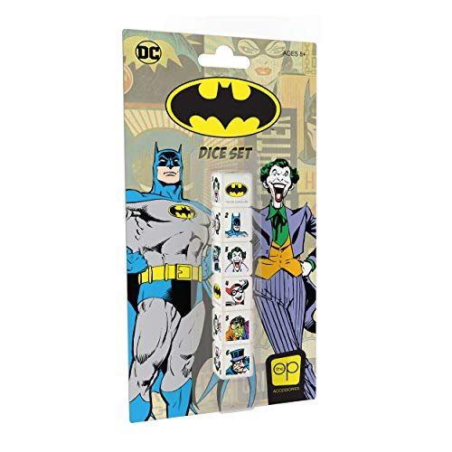 USAopoly Batman Dice Set | Collectible d6 Dice Featuring DC Comic Characters - Batman, Joker, Two-Face, Harley Quinn, The Penguin, And The Bat Signal | Officially Licensed 6-Sided Dice
