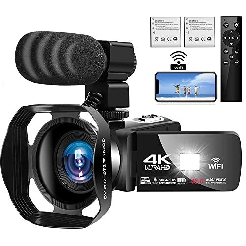 Caméscope 4K Ultra HD Caméra Vidéo Numérique 48MP WiFi Vlogging Camera pour Youtube 3.0 Pouces Ecran Tactile 18X Zoom Camescope avec Microphone, Télécommande et Parasoleil