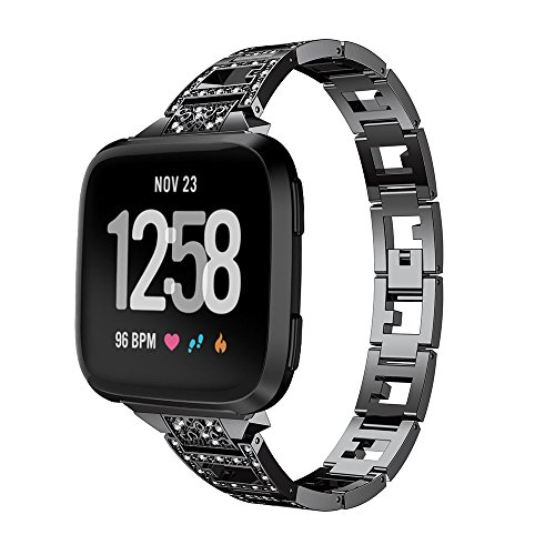 XZZTX Compatibel met Fitbit Versa Lite Band, RVS Vervangende Band Armband Metalen Band met Steentjes Compatibel voor Fitbit Versa Lite Smart Watch