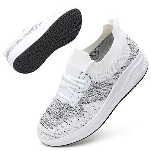 DADAWEN Women's Walking Shoes Sock Sneakers Mesh Slip On Comfort Lightweight Lady Girls Wedge Platform Athletic Shoes White US Size 5.5