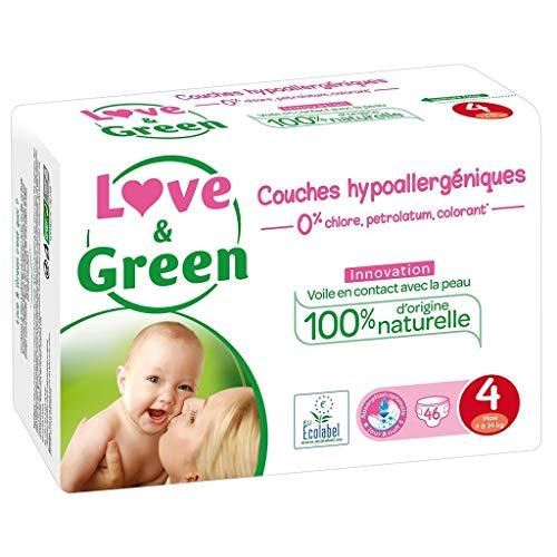 Love & Green Couches Hypoallergéniques Innovation Taille 4 (7-14Kg) x46 (lot de 2 soit 92 couches)