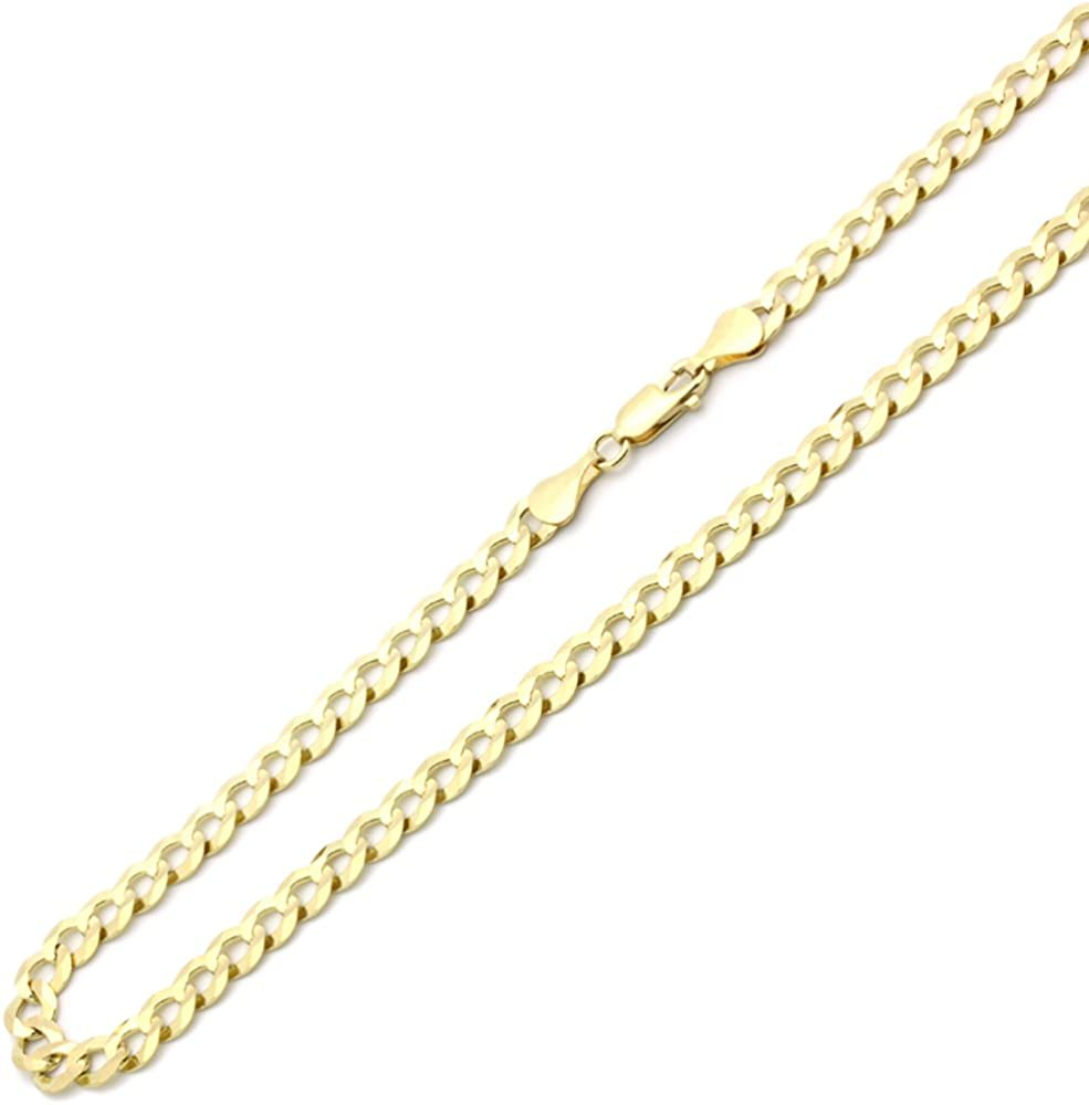 Solid 14K Ranking TOP1 Yellow Gold Necklace Chain Max 57% OFF 20 Light Curb 6mm