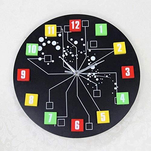 MOCHENG Reloj Salón Relojes Creativos Relojes de Moda Moderno Mute Relojes (Negro)