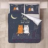 Jior Home Art Bettwäsche Set Bettbezug Und 2 Kopfkissenbezug Atmungsaktiv,Anti Milben,Geeignet Für Allergische Haut,Ideal Für Kinder Jugendliche Schlafzimmer Cartoon-Katze,155x220cm