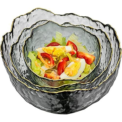 Set da 3 Ciotola in Vetro Trasparente ,Ciotole in Vetro ,Ciotole Per Insalata in Vetro ,per Zuppa ,Dessert da Frutta ,Pasta ,Curry ,Popcorn ,Cereale Completo da Impastare (Affumicare Grigie)
