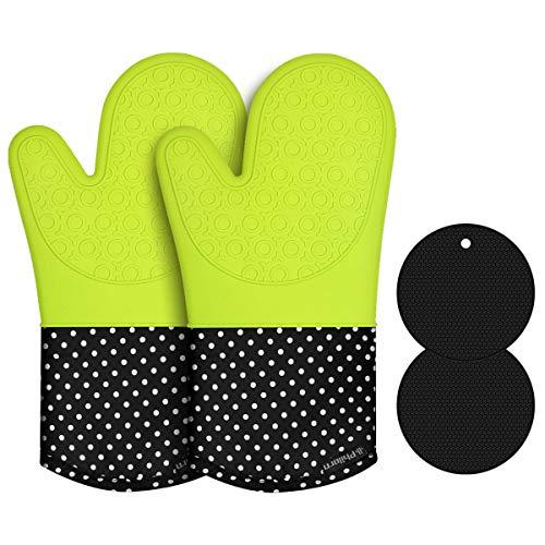 PHILORN Silikon Ofenhandschuh Grillhandschuhe Grill mit 2 Tischsets Hitzebeständige Handschuh bis zu 230 °C Kochhandschuhe Backhandschuhe für BBQ Kochen Backen und Schweißen (Neongrün)