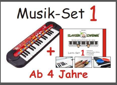Musique Set 1: Enfants Clavier de Simba © + Piano nains Learning Set 1 (crayons, autocollants nombre, 2 bracelets en silicone) pour les petits enfants de 4 ans, débutants, les enfants d'âge préscolaire