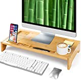 23 Inch Bamboo Monitor Stand Riser - Bamboo Desk Monitor Storage Organizer for Home and Office Computer Desk Laptop Printer TV Cellphone Stand Desktop Container by AMADA HOMEFURNISHING