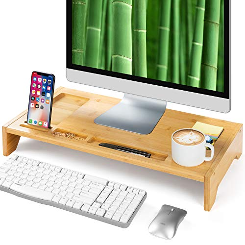Amada Bamboo Monitor Stand with Phone Grooves & Pen Notches for Home Office Computer, Laptop, TV, Tablet, Printer, Projector (Gold)