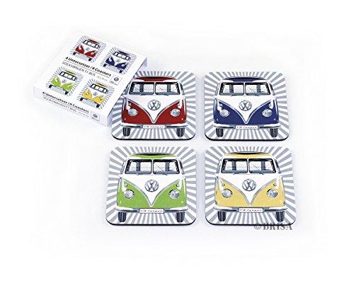 BRISA VW Collection - Volkswagen Furgoneta Hippie Bus T1 Van Juego de 4 Posavasos de Corcho con revestimiento MDF, Tapetes para Vasos, Protección de Mesa, Decoración de Cocina (Frente/Multicolor)