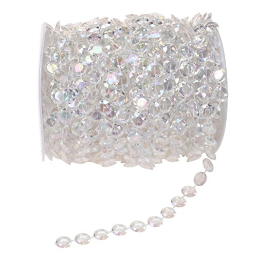 KUPOO 99 ft Clear Crystal Like Beads by The roll - Wedding Decorations (Colorful)