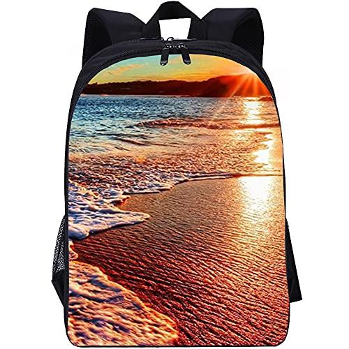 ZFWEI Mochila casual Puesta de sol en la playa Mochila resistente con compartimento para computadora portátil y mochila para la escuela, la oficina, la universidad y como mochila cuando viaja